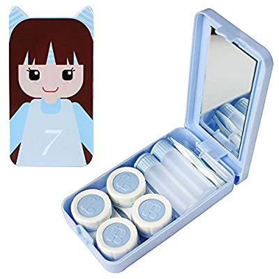 Compact Style Doll Girl Contact Lens Travel Kit W/ 2 Lens Cases & 2 Solution Bottles (Red)