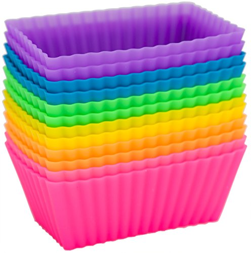 Pantry Elements Large Rectangular Silicone Baking Cups / Petite Loaf Pans - 12 Cupcake and Muffin Molds, Six Vibrant Colors (Silicone Baking Supplies compare prices)