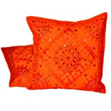 Little India Mirror Embroidery Hand Work Cotton 2 Piece Cushion Cover Set - Orange (DLI3CUS822)