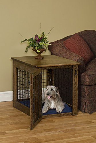 Chew Proof Wooden Dog Crate Oak Amish Made - Wooden Pet Furniture, Dog Crate End Table, Dog Side Table