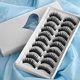 Leegoal 10 Pair Long Black False Eyelashes Eye Lashes Makeup