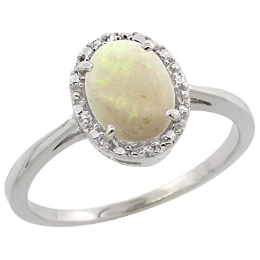 9ct White Gold Natural Opal Ring Oval 8x6 mm Diamond Halo, sizes J - T