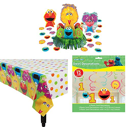 Sesame Street 1st Birthday Decoration Supply Pack Including Table Cover, Centerpiece, and Swirl (Baby Sesame Street Party Supplies)