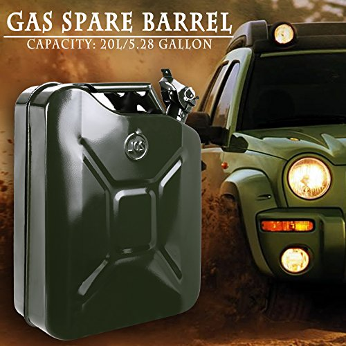 Coocheer 20L/5gallon Steel Jerry Can Gas Caddy Tank with Tight Nozzle Spout Water and Gasoline Automotive - Military Green (Gas Can For Atv compare prices)