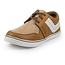 PAN Mens G06 TAN Fabric Casual Shoe-9 UK