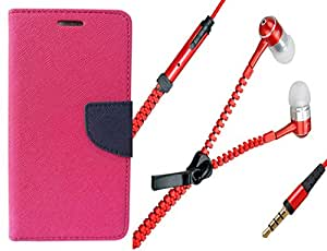 Novo Style Book Style Folio Wallet Case Sony Xperia Z2 Pink + Zipper Earphones/Hands free With Mic 3.5mm jack