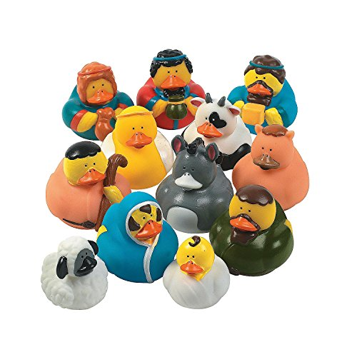 One Dozen (12) Rubber Duckie Ducky Duck Christmas Nativity Scene front-996776
