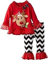 Rare Editions Little Girls Reindeer Applique Legging Set