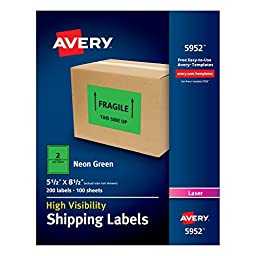 Avery High-Visibility Shipping Labels , 5-1/2 x 8-1/2 Inches, Neon Green Pack of 200 Labels (5952)