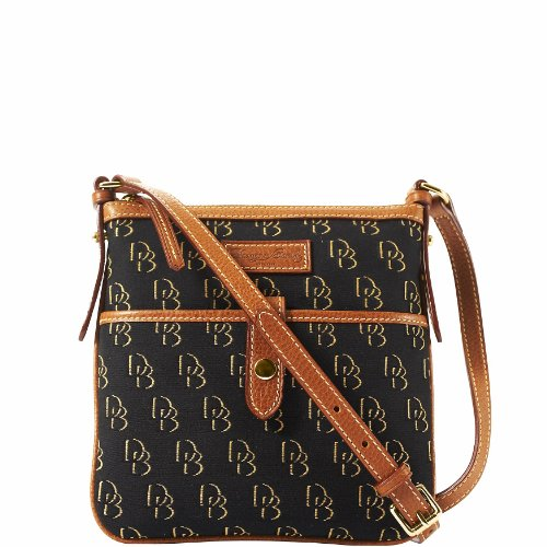 Dooney Bourke Shadow DB Letter Carrier Black Black Gold Natural