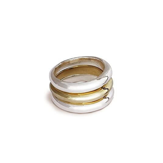 Scarlett Jewellery Sterling Silver and 9ct Yellow Gold Eclipse Stacking Ring