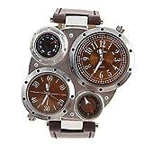 R-STYLE アンティーク メカニカルデザイン腕時計 コンパス 温度計機能付 (ブラウン)