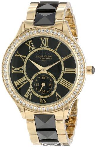 Anne Klein Women's 12/2142BKGB Swarovski Crystal Accented Gold-Tone and Black Ceramic Pyramid Bracelet Watch