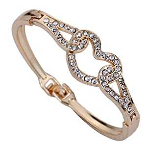 Yazilind Jewelry Sweety Rose Gold Hollow Heart Inlay Full Crystal Charming Bangle Bracelet Gift 2.2""
