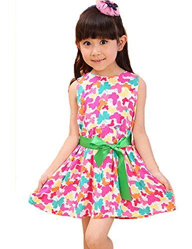 2014 Summer New Children'S Clothing, Children'S Floral Dress, Girls Dress (130, Red) front-48775
