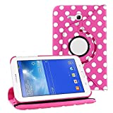 360° Degree Rotating PU Leather Polka Dots Stand Case For Samsung Galaxy Tab 3 (7.0) SM T210 T211 T215 GT-P3200 P3200 GT P3210 P3210 + FREE STYLUS PEN (Polka Dot - Pink)