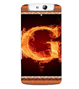 Fuson 3D Printed Alphabet G Designer back case cover for Oppo N1 - D4196