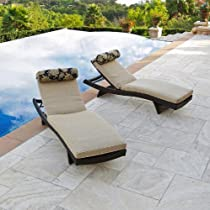 Hot Sale RST Outdoor Delano Wave Chaise Lounger with Mattress and Bolster Pillow Set, 2 Pack