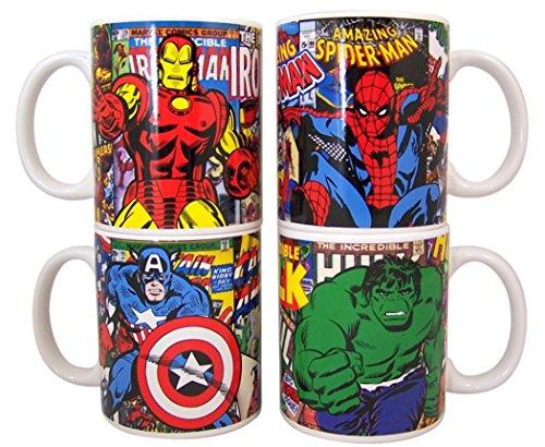 Marvel's the Avengers Superhero Retro Style Coffee Mug, Set of 4, 10 oz (Avengers Coffee Mug Set compare prices)