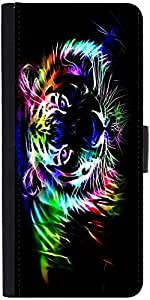 Snoogg Neon Tiger Outline 2669 Graphic Snap On Hard Back Leather + Pc Flip Co...