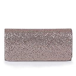 ECOSUSI Women Flap Dazzling Evening Bag Hard Case Clutch Handbag Purse for Women with Detachable Chain