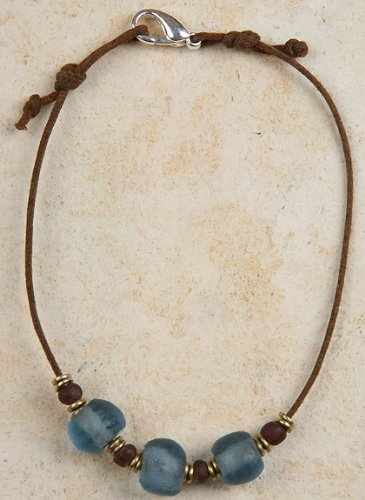 Anklet - Blue Recycled Glass