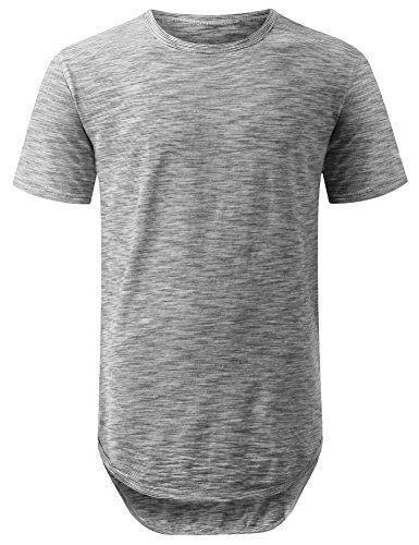 URBANCREWS Mens Hipster Hip Hop 2 Tone Weaved Longline T-shirt BLACK SMALL (H And M Clothing Men compare prices)