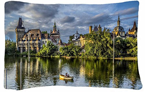 Microfiber Peach Queen Size Decorative Pillowcase -City Budapest Budapest Hungary Vajdahunyad Castle Trees Nature Park Lake Boat People front-936123