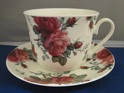Extra Large English Rose Chintz Breakfast/Tea Cup & Saucer-Bone China