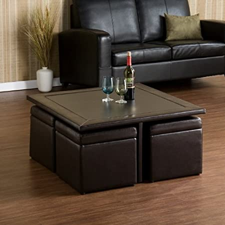 Dark Chocolate Cocktail Table and Four Ottomans
