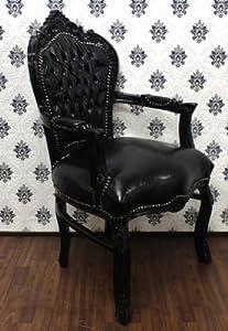 Barock esszimmer stuhl mit armlehnen schwarz for Esszimmerstuhl schwarz
