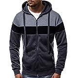 XOWRTE Men's Patchwork Zipper Winter Hoodies Jacket Coat Tracksuits
