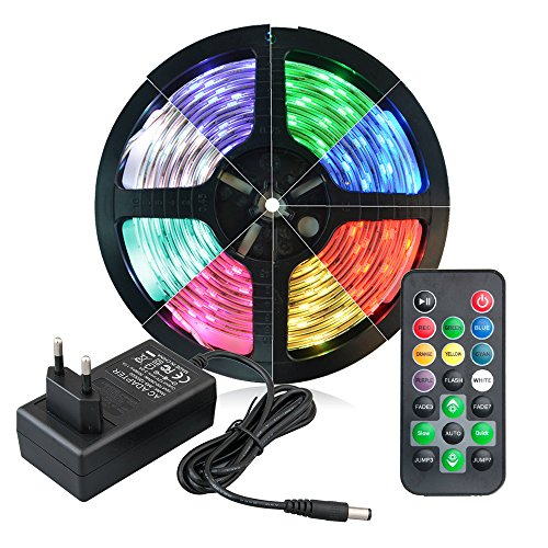 5M-LED-RGB-Strip-150-5050-SMDs-30-LEDsMeter-Led-Band-mit-Fernbedienung-20-Tasten-Led-RGB-Kontroller-mit-Netzteil-DC-12V-3A-Trafo-und-Stromkabel-Komplettset-mehrfarbig-Led-Leiste-fr-Hauptbeleuchtung-Kc
