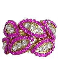 Faux Ruby And White Zirconia Adjustable Ring - Stone And Metal