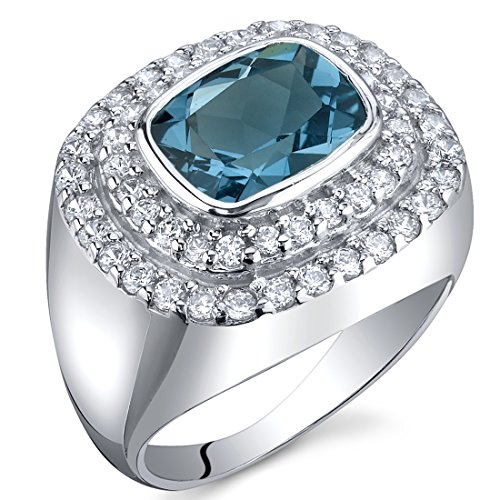 London Blue Topaz Cocktail Ring Sterling Silver Rhodium Nickel Finish 2.25 Carats Size 6