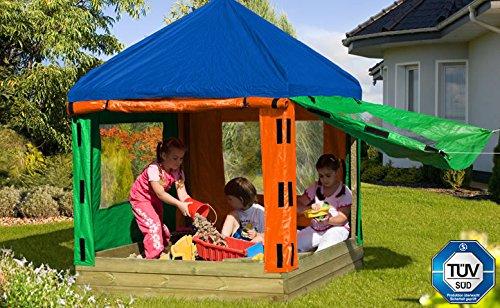 67030/67031 Kinderpavillon (LxBxH): 153 x 153 x 180 cm / Sandkasten aus Holz mit Pavillon und Plane / Sandkastenbretter 30 mm stark, gehobelt und gefast / inkl. 2 Sitzecken von Gartenwelt Riegelsberger bestellen