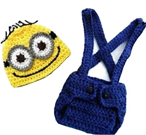 Pinbo Baby Crochet Despicable Me Hat Diaper Minion Costume Photography Prop