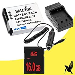 Halcyon 1500 mAH Lithium Ion Replacement Battery and Charger Kit + 16GB SDHC Class 10 Memory Card for Nikon Coolpix S6300 16 MP Digital Camera and Nikon EN-EL12