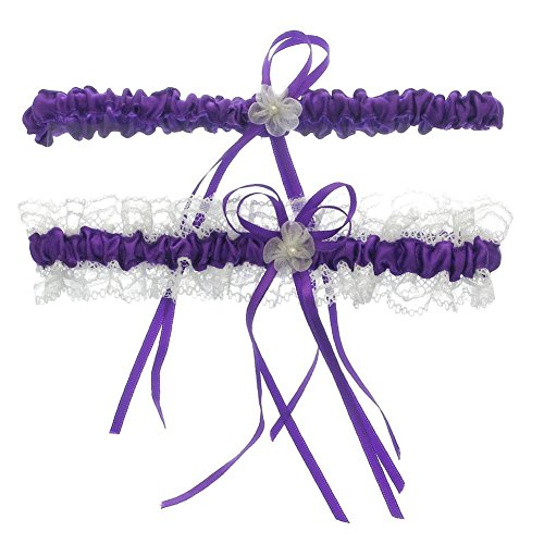DivaDesigns Lace Ruffle Faux Pearl Chiffon Floral Ribbon Wedding Garter with Toss Away Purple