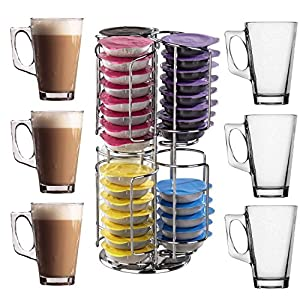 48 Tassimo T-Disc Holder with Rotating Base Double Layer + Free Latte Glasses