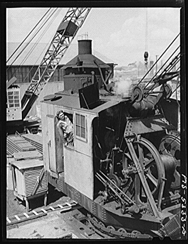 1942 Photo Decatur, Alabama. Ingalls Shipbuilding Company. A crane operator Location: Alabama, Decatur, Morgan County (Crane Pictures compare prices)