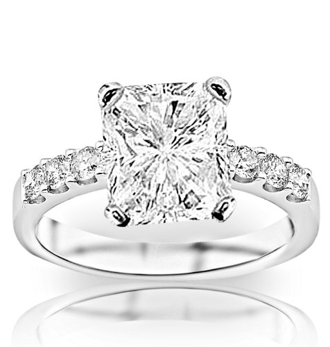 1.23 Carat Gia Certified Radiant Cut / Shape Classic Prong Set Round Diamond Engagement Ring (F Color , Vvs2-Vs1 Clarity)