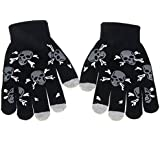 Touch gloves,Danibos Solid Colorful Touch Screen Gloves for women men kids Smartouch Tech Stretch Glove iPhone, Tablets (Skull Black)