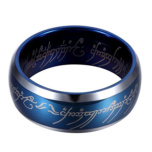 GER 8mm Blue Tungsten Carbide Ring Lord of the Ring Wedding Band Engagement Rings with Elvish for Men&Women