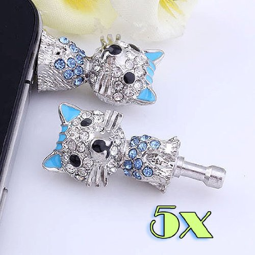 Top Plaza 1/5/10 Pcs3.5Mm Crystal Fox Animal Anti Dust Plug Ear Cap Stopper For Cell Phone Gift (5Pcs)