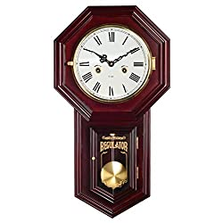 HENSE Chiming Regulator Mechanical Wind-Up Clocks Wall Clock with Swinging Pendulum,Color-Mahogany HP31