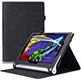 MoKo Lenovo Yoga Tablet 2 10.1 Hülle Case - Premium Leder Schlank Folding Schutzhülle Etui Tasche Smart Cover für Lenovo Yoga Tablet 2 10.1 Zoll Version 2014, SCHWARZ (mit Smart Cover Auto Wake / Sleep)