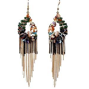 Girl Era Fine Crystal Elegant Black Coloured Circular Long Tassel Dangle Earrings(g)