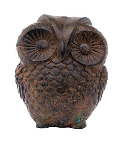 Asian Art Imports Bronze Owl, Green/Brown