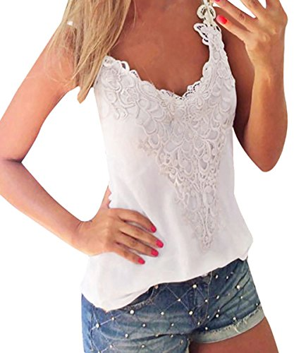 ISASSY Womens Plus size Lace Cotton Strappy Bralet Floral Crochet Cami tank Crop vest top shirt (White) (XL(UK20-22))